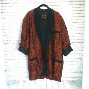 ELLEN TRACY silk + wool long blazer jacket